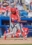 6 March 2019: Philadelphia Phillies infielder Gregorio Petit at bat during a Spring Training game against the Toronto Blue Jays at Dunedin Stadium in Dunedin, Florida. The Blue Jays defeated the Phillies 9-7 in Grapefruit League play. Mandatory Credit: Ed Wolfstein Photo *** RAW (NEF) Image File Available ***