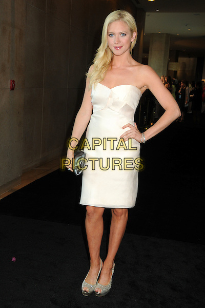 Brittany Snow.2011 Women In Film Crystal + Lucy Awards held at the Beverly Hilton Hotel, Beverly Hills, California, USA..June 16th, 2011.full length white dress strapless hands on hip.CAP/ADM/BP.©Byron Purvis/AdMedia/Capital Pictures.