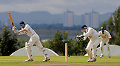 Uddingston V Heriots, Scottish National Cricket League, Premier Division, at Bothwell Policies - Heriots Pro Cameron Farrell slides the ball down the leg side, past Uddingston wicketkeeper Bryan Clarke - Picture by Donald MacLeod 18.07.09