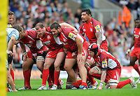 Oxford, England. London Welsh prepare to scrum during the Aviva Premiership match between London Welsh  and Leicester Tigers at Kassam Stadium on September 2, 2012 in Oxford, England.