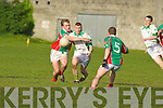Daniel Kerins John Mitchels gets away from Ronan O'Connor, John O'Keefe Kilcummin in their County League clash at John Mitchels Ground on Saturday evening.Ardfert v St Michaels Foilmore County League