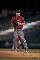 AZL Diamondbacks relief pitcher Brian Ellington (40) prepares to deliver a pitch during an Arizona League game against the AZL Angels at Tempe Diablo Stadium on June 27, 2018 in Tempe, Arizona. The AZL Angels defeated the AZL Diamondbacks 5-3. (Zachary Lucy/Four Seam Images)