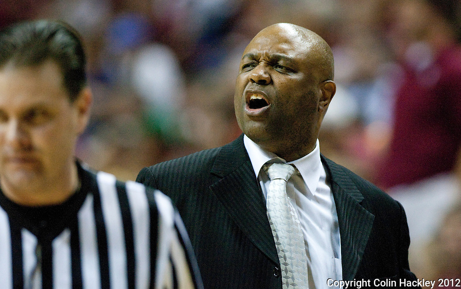 TALLAHASSEE, FLA. 2/23/12-FSU-DUKE022312 CH-FSU Coach Leonard Hamilton reacts to a call during second half action against Duke, Feb. 23, 2012 in Tallahassee. The Blue Devils beat the Seminoles 74-66..COLIN HACKLEY PHOTO