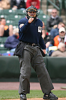 April 30th 2008:  Home plate umpire Kevin Causey makes a strike call during a game at Frontier Field  in Rochester, NY.  Photo by Mike Janes/Four Seam Images