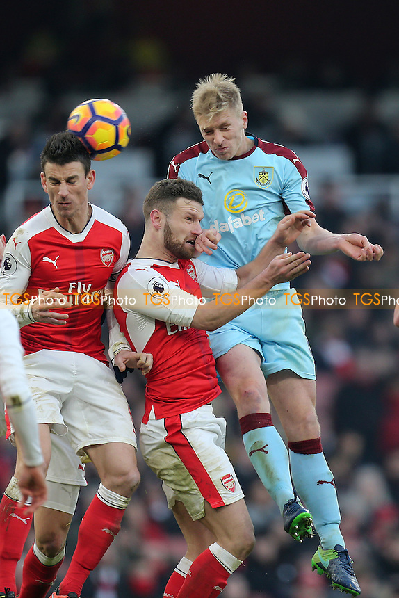 Ben Mee of Burnley and Laurent Koscielny of Arsenal during Arsenal vs Burnley, Premier League Football at the Emirates Stadium on 22nd January 2017