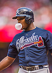 22 June 2014: Atlanta Braves outfielder Justin Upton blows a bubble during a game against the Washington Nationals at Nationals Park in Washington, DC. The Nationals defeated the Braves 4-1 to split their 4-game series and take sole possession of first place in the NL East. Mandatory Credit: Ed Wolfstein Photo *** RAW (NEF) Image File Available ***