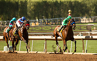 ARCADIA, CA  MARCH 11:  #4 Mastery, ridden by Mike Smith, has the lead over #6 Iliad, ridden by Flavien Prat, in the stretch of the San Felipe Stakes  (Grade ll) on March 11, 2017 at Santa Anita Park in Arcadia, CA. (Photo by Casey Phillips/Eclipse Sportswire/Getty Images)