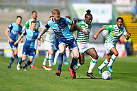 Nathan McGinley of Wycombe Wanderers left tackles Jordan Green of Yeovil Town during Yeovil Town vs Wycombe Wanderers, Sky Bet EFL League 2 Football at Huish Park on 14th April 2018