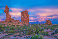 Balanced Rock Spring Sunset, sunset and clouds, Arches National Park, Utah, La Sal Mountains beyond