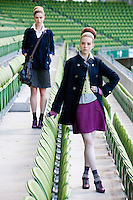 29/9/2010. Marks and Spencer's new Autumn Winter Fashion Collection. Model Nikki Bonass is pictured wearing Plaid swing coat EUR109 and Grey checked skirt EUR35 and Model Niamh O Toole wears striped shirt EUR16, lime cardigan EUR80, navy swing coat EUR109 and tweed EUR40 at the Aviva stadium, Dublin for the launch of Marks and Spencer's new Autumn Winter Fashion Collection. Picture James Horan/Collins Photos