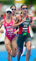 12 JUL 2009 - KITZBUHEL, AUT - Emma Moffatt , Helen Jenkins and Nicola Spirig - ITU World Championship Series Womens Triathlon.(PHOTO (C) NIGEL FARROW)