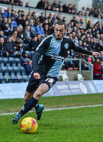 Michael Harriman of Wycombe Wanderers in action during the Sky Bet League 2 match between Wycombe Wanderers and Leyton Orient at Adams Park, High Wycombe, England on 23 January 2016. Photo by Claudia Nako / PRiME Media Images.