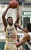 Elijah Bovell #23 of Baldwin draws a foul during the Nassau County varsity boys basketball Class AA semifinals against Westbury at SUNY Old Westbury on Tuesday, Feb. 28, 2017. Westbury won by a score of 48-45.