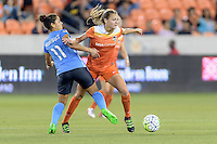 Houston, TX - Friday April 29, 2016: Raquel Rodriguez (11) of Sky Blue FC and Cami Privett (23) of the Houston Dash battle for control of the ball at BBVA Compass Stadium. The Houston Dash tied Sky Blue FC 0-0.