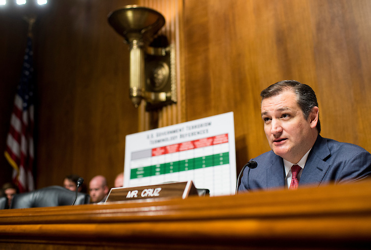 "UNITED STATES - JUNE 28: Sen. Ted Cruz (R-TX) chairs the Subcommittee on Oversight, Agency Action, Federal Rights and Federal Courts hearing on ""Willful Blindness: Consequences of Agency Efforts To Deemphasize Radical Islam in Combating Terrorism"" on Tuesday, June 28, 2016. (Photo By Bill Clark/CQ Roll Call)"