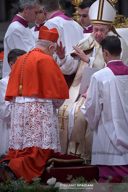 cardinal, archbishop of Madrid Carlos Osoro Sierra, Pope Francis, during a consistory at Peter's basilica. Pope Francis has named 17 new cardinals, on November 19, 2016