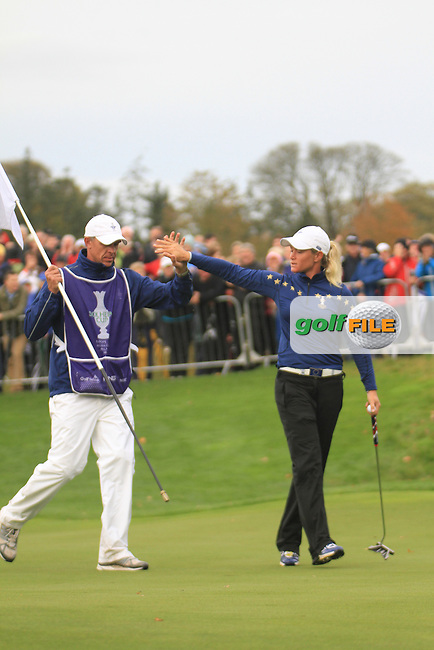 Suzann Pettersen (EUR) on the 16th on the final day of  the Solheim Cup 2011 at Killeen Castle, Co. Meath, Ireland...Photo Golffile/Jenny Matthews.(Photo credit should read Jenny Matthews www.golffile.ie)....This Picture has been sent you under the conditions enclosed by:.Newsfile Ltd..The Studio,.Millmount Abbey,.Drogheda,.Co Meath..Ireland..Tel: +353(0)41-9871240.Fax: +353(0)41-9871260.GSM: +353(0)86-2500958.email: pictures@newsfile.ie.www.newsfile.ie.