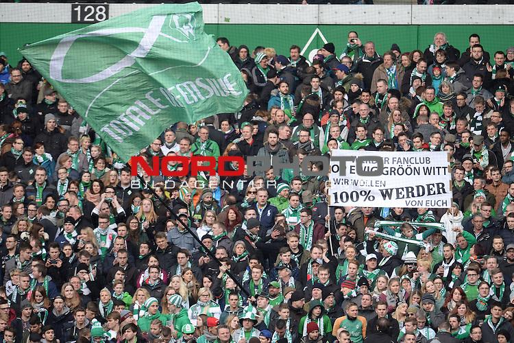 27.02.2016, Weserstadion, Bremen, GER, 1.FBL, SV Werder Bremen vs SV Darmstadt 98, <br /> <br /> im Bild / picture shows<br /> Banner, Plakat, Fankultur in der Ostkurve, <br /> <br /> Foto &copy; nordphoto / Ewert