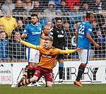 31.3.2018: Motherwell v Rangers: <br /> Russell Martin clips Chris Cadden for a penalty kick