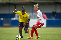 Rinsola Babajide of Watford Ladies turns Tanya Blacksley of Stevenage Ladies during the pre season friendly match between Stevenage Ladies FC and Watford Ladies at The County Ground, Letchworth Garden City, England on 16 July 2017. Photo by Andy Rowland / PRiME Media Images.