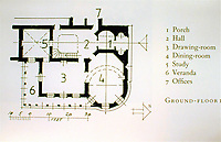 Cronkhill: 1st floor Plan. Shropshire, England. Designed by John Nash in Italianate style.