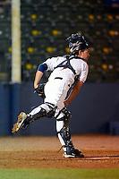 Huntsville Stars catcher Adam Weisenburger #3 during a game against the Tennessee Smokies on April 16, 2013 at Joe W Davis Municipal Stadium in Huntsville, Alabama.  Tennessee defeated Huntsville 4-3.  (Mike Janes/Four Seam Images)