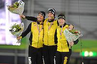 SCHAATSEN: GRONINGEN: Sportcentrum Kardinge, 17-01-2015, KPN NK Sprint, Podium 1e 1000m Heren, Kjeld Nuis, Hein Otterspeer, Stefan Groothuis, ©foto Martin de Jong