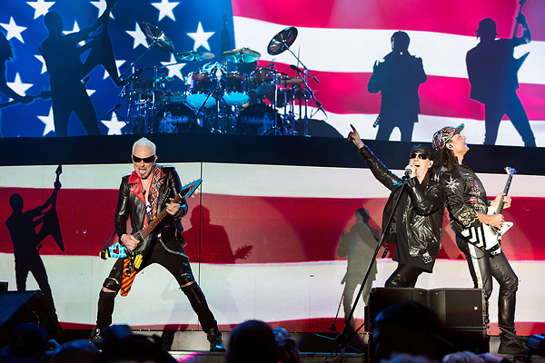 May 6, 2016. Concord, North Carolina. <br /> (from left)  Rudolf Schenker, Klaus Meine and Matthias Jabs of The Scorpions closed out the opening night of the Carolina Rebellion.<br />  The 2016 Carolina Rebellion was held over May 6-8 next to the Charlotte Motor Speedway and featured over 50 bands including headliners Lynyrd Skynyrd, The Scorpions, Five Finger Death Punch, Disturbed, and Rob Zombie.