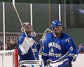 Bailey MacBurnie (UMB - 1), Garrett Gallagher (UMB - 6) - The UMass Boston Beacons defeated the Babson College Beavers 5-1 on Thursday, January 12, 2017, at Fenway Park in Boston, Massachusetts.
