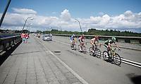 breakaway group on the bridge over the Lacs de l'eau d'Heure<br /> <br /> Tour de Wallonie 2015<br /> stage 5: Chimay - Thuin (167km)