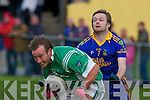 Eoin Cronin Spa tackles Jerome Kelleher Milltown  during their county league game in Milltown on Saturday evening