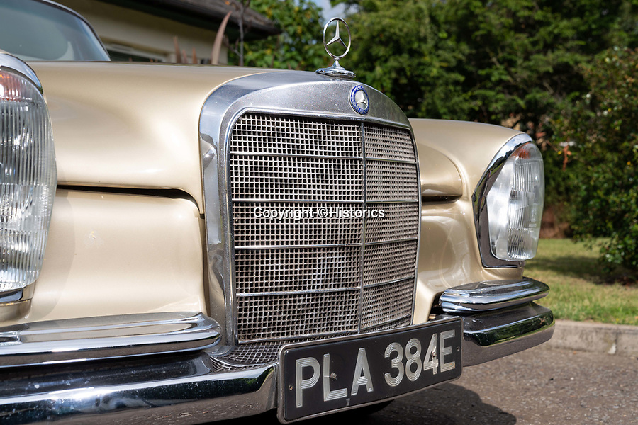BNPS.co.uk (01202 558833)<br /> Pic: Historics/BNPS<br /> <br /> Hello, good evening and welcome....to this classic Merc, first owned by journalist David Frost at the height of the swinging sixties.<br /> <br /> The gold 250 SE was bought new by the broadcaster in 1967 and it is unclear how long he owned the stylish motor.<br /> <br /> It is possible however that he was still using the Merc a decade later in 1977 when he conducted his now iconic interviews with U.S presidential candidate Richard Nixon.<br /> <br /> The interviews, which were aired over four programmes, went on to form the basis of the hit film Frost/Nixon in 2008.<br /> <br /> His pristine coupe is to be sold by Historics Auctioneers of Iver, Bucks.