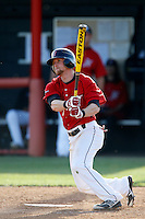 Nate Ring #7 of the Cal State Northridge Matadors bats against the University of San Diego Toreros at Matador Field on March 26, 2013 in Northridge, California. (Larry Goren/Four Seam Images)