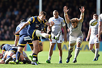 Ryan Mills of Worcester Warriors boots the ball out in the final play. Aviva Premiership match, between Worcester Warriors and Bath Rugby on April 15, 2017 at Sixways Stadium in Worcester, England. Photo by: Patrick Khachfe / Onside Images