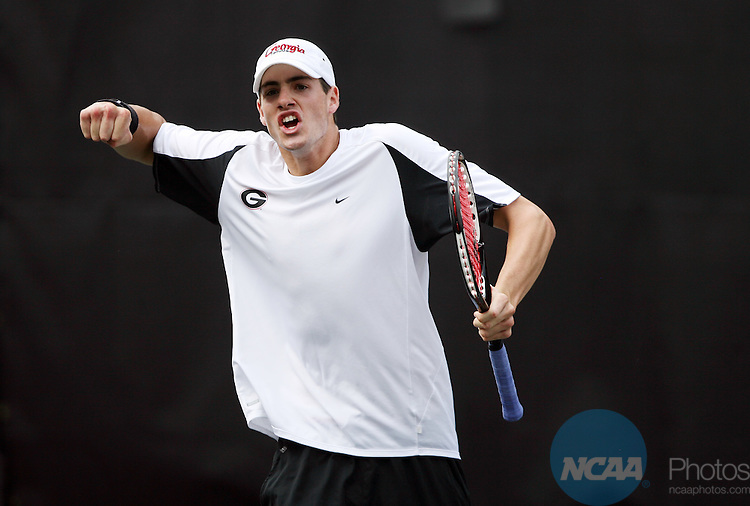 22 MAY 2007:  John Isner of the University of Georgia celebrates a point against Kevin Anderson of the University of Illinois during the Division I Men's Tennis Championship held at the Dan Magill Tennis Complex on the University of Georgia campus in Athens, GA.  Georgia defeated Illinoins 4-0 for the national title.  Jamie Schwaberow/NCAA Photos