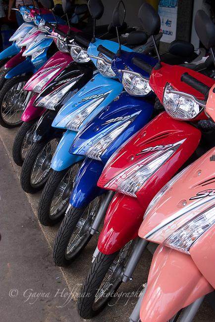 Row of motor bikes, Krabi, Thailand
