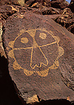 Shield petroglyph at Petroglyph National Monument, Albuquerque, New Mexico.