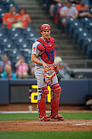 Reading Fightin Phils catcher Austin Bossart (18) during an Eastern League game against the Akron RubberDucks on June 4, 2019 at Canal Park in Akron, Ohio.  Akron defeated Reading 8-5.  (Mike Janes/Four Seam Images)