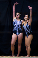 Seohee Lee (right) and Lily Milne (North Harbour). Day One of the 2018 North Island Synchronised Swimming Championships at Wellington Regional Aquatics Centre in Wellington, New Zealand on Saturday, 19 May 2018. Photo: Dave Lintott / lintottphoto.co.nz