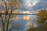 Idaho, North, Kootenai County, Coeur d'Alene. An autumn sunset over Lake Coeur d'Alene.
