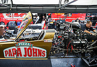 Aug 19, 2016; Brainerd, MN, USA; NHRA top fuel driver Leah Pritchett during qualifying for the Lucas Oil Nationals at Brainerd International Raceway. Mandatory Credit: Mark J. Rebilas-USA TODAY Sports