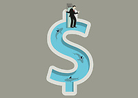Businessman balancing on diving board above shark infested dollar shaped swimming pool