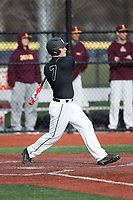 Nick Matera (7) of the Rutgers Scarlet Knights follows through on his swing against the Iona Gaels at City Park on March 8, 2017 in New Rochelle, New York.  The Scarlet Knights defeated the Gaels 12-3.  (Brian Westerholt/Four Seam Images)