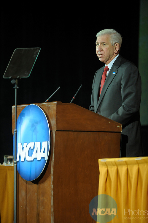 12 JAN 2008:  Staff and delegates participated in the Opening Business Session at the 2008 NCAA Convention held at the Gaylord Palms Opryland Resort and Convention Center in Nashville, TN. Stephen Nowland/NCAA Photos.Pictured: Myles Brand - NCAA...