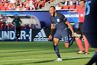 Nathan Redmond of England celebrates scoring the second goal during Slovakia Under-21 vs England Under-21, UEFA European Under-21 Championship Football at The Kolporter Arena on 19th June 2017