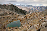 Hiking the Sierra High Route, which is above tree line and off trail (mostly) for 200+ miles. Potluck Pass pictured here gives access to the Palisades, a group of high peaks in Kings Canyon National Park.