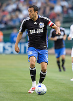 14 June 2008: Ramiro Corrales of the Earthquakes dribbles the ball during the game against the Galaxy at McAfee Coliseum in Oakland, California.   Los Angeles Galaxy defeated San Jose Earthquakes, 3-0.