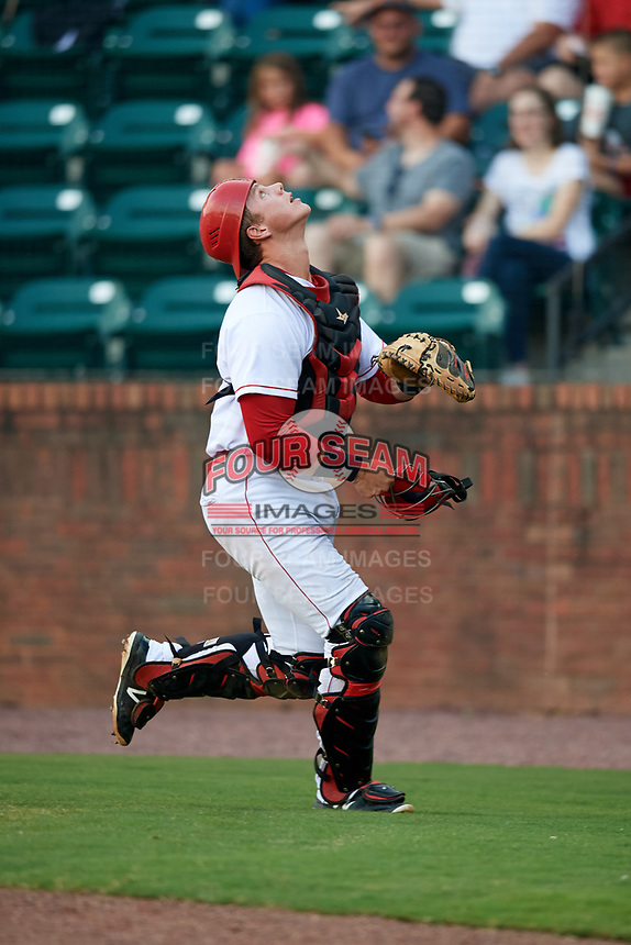 Greeneville Reds catcher Robert Boselli (47) tracks a pop up during a game against the Pulaski Yankees on July 27, 2018 at Pioneer Park in Tusculum, Tennessee.  Greeneville defeated Pulaski 3-2.  (Mike Janes/Four Seam Images)