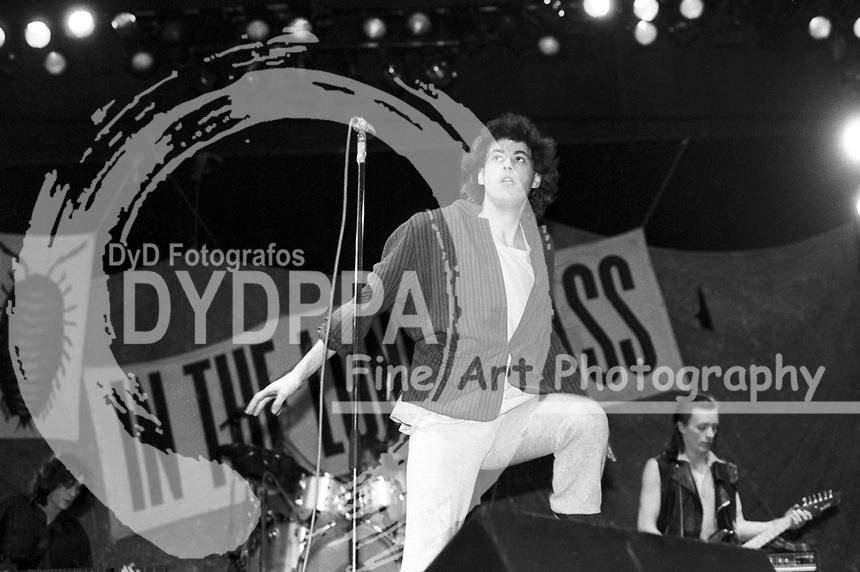 Pete Briquette, Bob Geldof und Garry Roberts von The Boomtown Rats live in Dominion. London, 25.02.1984