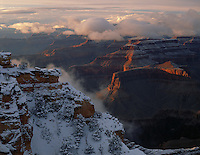 Grand Canyon National Park, AZ   <br /> Late light on the snow covered south rim near Mather Point